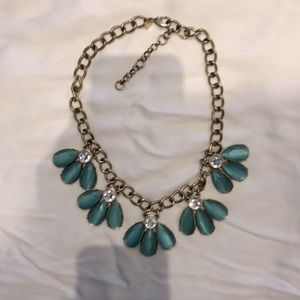 Turquoise sparkly bib necklace